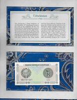 *Most Treasured Banknotes Uzbekistan 1994 1 Sum UNC P-73 Prefix VB