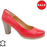 Mujer Zapatos de Tacón Cuero 7-cm Auténtico Noche Rojo Hecho En España - Oferta
