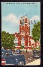 ST. PETERSBURG FLORIDA FL 1948 First Methodist Church Street View Car Postcard P