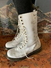 Rare Dr martens 14 eye white floral flowers boots UK 7 EU 41 US 9 1C57 wedding