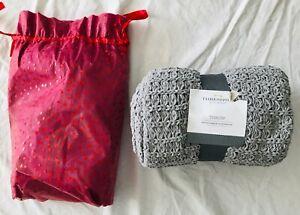 "Threshold Grey Knit Throw Soft Standard 100 Oeko-Tex New w/ Tags in Bag 50 x 60"""