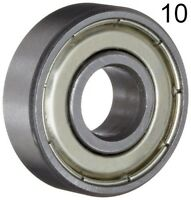 Ten (10) 608ZZ 8x22x7 Shielded Greased Miniature Ball Bearings