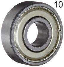 Ten 10 608zz 8x22x7 Shielded Greased Miniature Ball Bearings