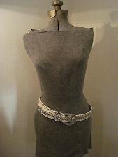 SUPER CUTE - RHINESTONE BLING WHITE LEATHER BELT WITH  SUPER BLING BUCKLE-MEDIUM