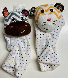 Baby Infant Infantino Foot Rattle Socks Footies Zebra Tiger Animal Polka Dot Toy