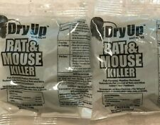 TWO pks Dry Up green rodenticide rat poison rat & mice killer rat bait