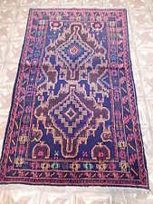 Handmade Rug 4' X 6' Baluch Oriental Tribal Style Fused With Tribal Design