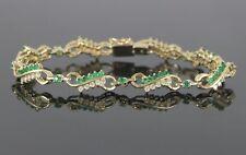 14K Yellow Gold 3.00ct Green Emerald Round Diamond 7.5'' Tennis Bracelet