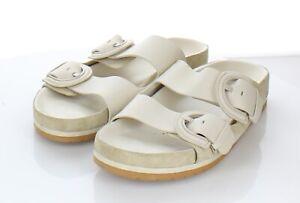 20-58 $275 Women's Sz 8 M Vince Glyn Leather Slide Sandal In Ivory