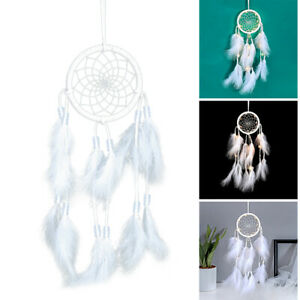 Handmade LED Night Light Dreamcatcher Feathers Wind Chimes Hanging Pendant Home