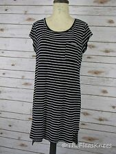 Nicole Miller Striped Stretch Knit T-Shirt Dress Size L Black and White