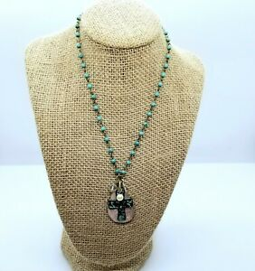 Turquoise Mixed Metals Love Cross Pearl & Crystal Charms Forced Patina