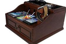 Decorebay Pecan Brown Wooden Valet Box Multi-Device Charging Station Organizer