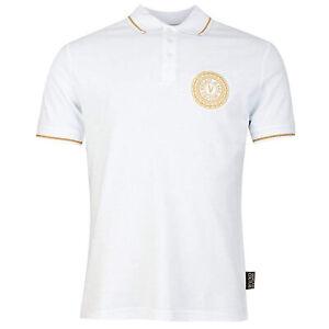 Versace Jeans Couture Men's White Gold Logo Short Sleeve Pique Polo T-Shirt