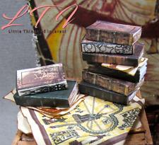 8 ANCIENT TEXT Books Set 1:12 Scale Miniature Dollhouse Prop Faux books