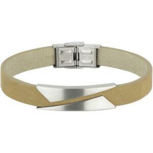 Breil Mens Bracelet REBEL TJ2135 Leather Beige Steel