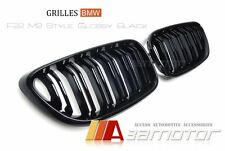 BMW F22 2Dr 2-SERIES M2 STYLE GLOSSY BLACK DUAL SLAT FRONT BONNET KIDNEY GRILLS