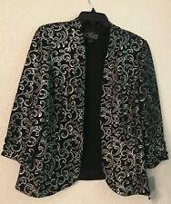 NWT Alex Evenings Black Silver Blazer Jacket 1 Piece