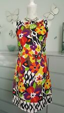 BRIGHT FLORAL DRESS COTTON 10/38 BNWOT SUMMER OCCASION CASUAL FITTED