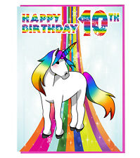 Magical Unicorn 10th Birthday Card - Girls - Daughter - Grandaughter - Friend