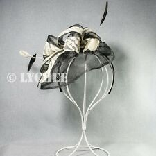 Black White Lace Sinamay Feather Loops Racing Fascinator Hatinator Headband Hat