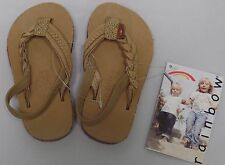 RAINBOW SANDALS Kids Flirty Braidy Leather Sandals Sierra Brown Size 5/6 NWT