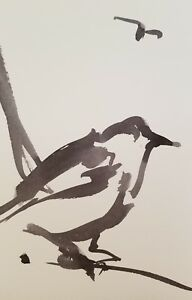 """JOSE TRUJILLO - MODERN ABSTRACT EXPRESSIONIST INK WASH BIRD COLLECTIBLE 6x9"""""""