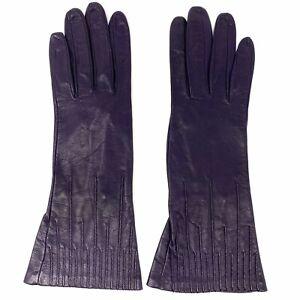 Vtg Bottega Veneta Italy Aubergine Plum Mid Length Leather Gloves sz 7