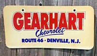 RARE GEARHART CHEVROLET CHEVY DEALERSHIP LICENSE PLATE ROUTE 46 DENVILLE, NJ