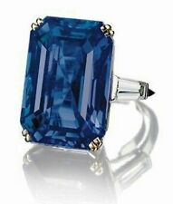 30ct Fancy Blue Emerald CZ Taper Baguette Three Stone Engagement Ring 925 Silver