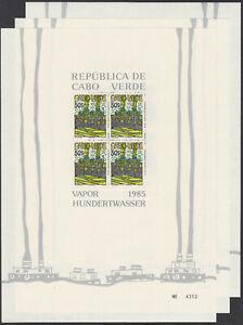 Kap Verde Block 7-9 ** 3 postfrisch mit je 4 x 497,498,499 Hundertwasser 1985