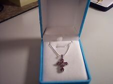 NEW WOMEN'S 18KTGP AMETHYST CZ CLUSTER  CROSS W/STERLING CHAIN