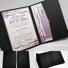 MATTE BLACK RECTANGLE WEDDING INVITATION DIY ENVELOPES POCKET POCKETFOLD 5 X 7