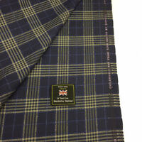 3.5 Metres Navy Check Pure Wool Suit, Sports Jacketing Fabric. By Dormeuil