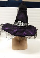 Dlx Purple Velour Witch Hat Tattered w/Spiked Latex Hatband Adult UNISEX Wizard