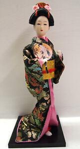 Beautful Japanese Geisha Doll:Lady in Black Kimono Doll 31cm High(04)