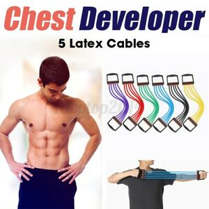Rubber Drivers Chest Expander Developer 5 Pull Ropes Fitness Resistance Expander