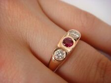 14K SOLID ROSE GOLD GYPSY RING GENUINE RUBY AND TWO DIAMONDS 0.60 CT T.W.