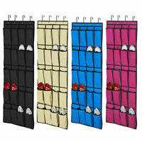20 Pocket Hanging Over Door Shoe Organizer Storage Rack Tidy Space saver 4 HOOKS