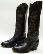 WOMENS VTG MORGAN MILLER TALL BLK LEATHER RIDING COWBOY WESTERN BOOTS 6.5~1/2 M