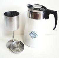 Vintage Corning Ware Blue Cornflower Stove Top 9 Cup Percolator Coffee Pot EXC