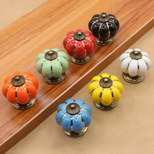 New Retro Pumpkin Ceramic Vintage Door Knobs Cabinet Drawer Cupboard Pull Handle