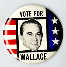 "1968 George Wallace 3 1/2"" Vintage Presidential Campaign Pin Pinback Button"