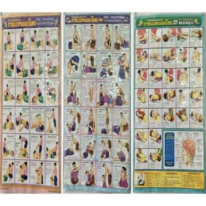 1 2 3 Poster Thai Traditional Massage Learning Studying Basic Massage Post Chart