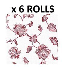 White Red Floral Wallpaper Textured Vinyl Flowers Glamour Glitter Luxury 6 Rolls