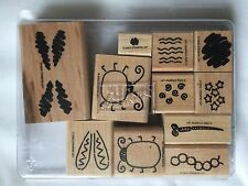 Stampin Up 2002 Bug Builders 11 piece set Two Step Stamping Wooden Stamps