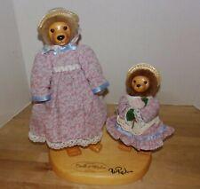 1991 Retired Robert Raikes Lucille & Daphne Wooden Dolls w/Display Stand
