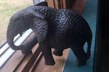 Vintage Hand Carved Wooden Black Elephant Figurine Sculpture