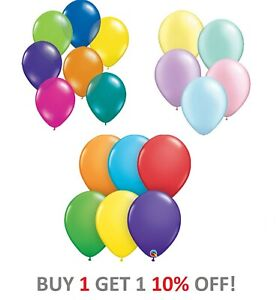 Packs of 10 Qualatex Latex Balloons 5 Inch Pearl & Solid Colours - 10 PACK