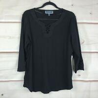 Karen Scott Plus Size 3/4 Sleeve Crisscross-Trim Neck Womens 0X Black Knit Top
